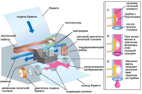 основные узлы струйного принтера