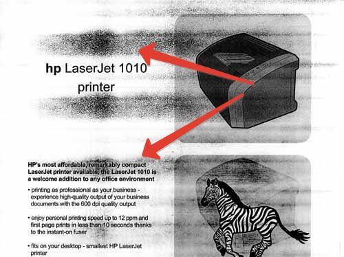 Пример печати с изношенным роликом заряда