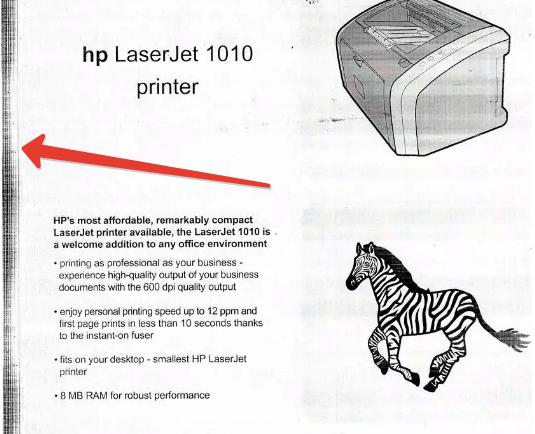 Пример печати с изношенным фотовалом