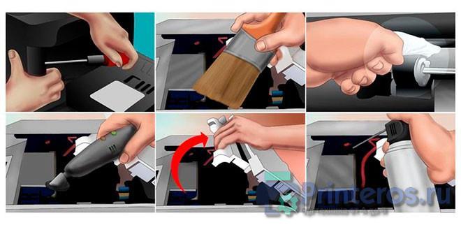 Процесс самостоятельной чистки принтера