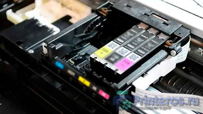 Крупный план каретки от принтера
