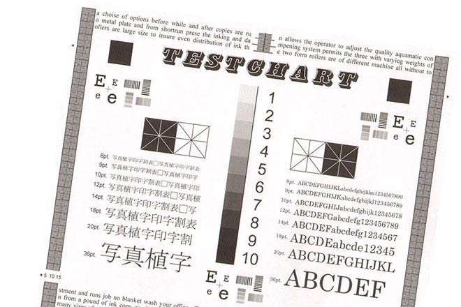 Пример кривой печати принтера