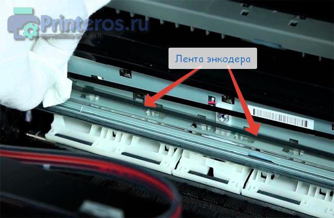 Процесс очистки ленты энкодера для устранения сбоев в движении каретки