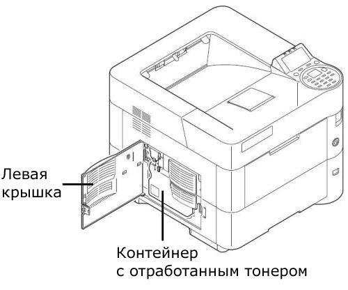 Схема расположения бункера с отработанным тонером в принтере