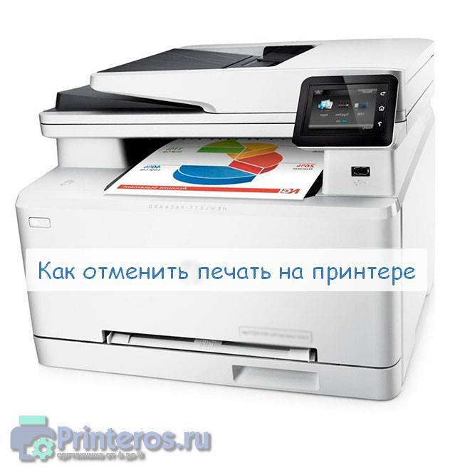 Фото принтера, на котором необходимо отменить печать