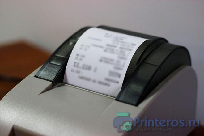 Процесс печати чека на принтере
