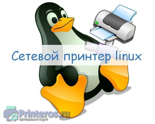 Логотип линукс с сетевым принтером